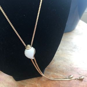 Vintage Pull Chain Necklace w/ White Shell